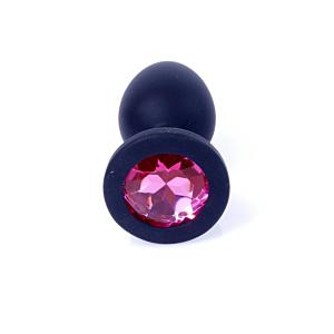 Jewellery Butt Plug Silicone Black Small - Pink Diamond