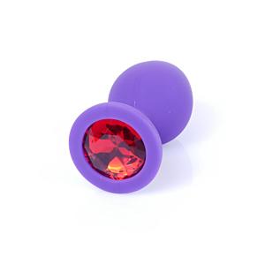 Jewellery Butt Plug Silicone Purple Medium - Red Diamond
