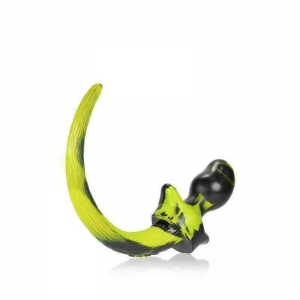 Oxballs Pug Puppy Tail Butt Plug Black/Yellow Small