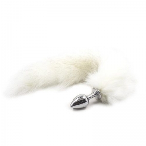 Long Fox Tail Anal Plug (white)
