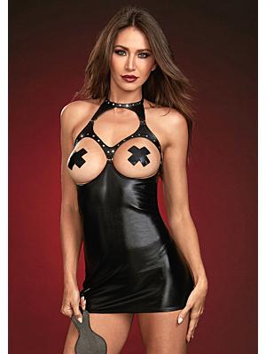 Faux Leather Chemise - Black