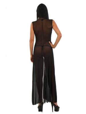Long negligee in fine fishnet, with hood - 19963-BLACK