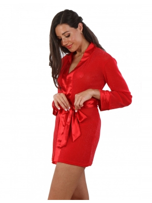 Satin Kimono dress in glittery fabric Red