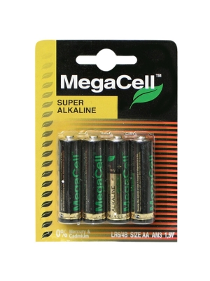Batteries Alkaline mini AA MEGACELL 4 p-1.5V