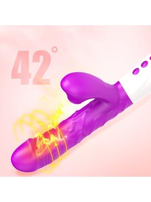 Vibrator-Silicone, Vibration 7, 7 Suction, 3 Thrusting, Heating, Purple
