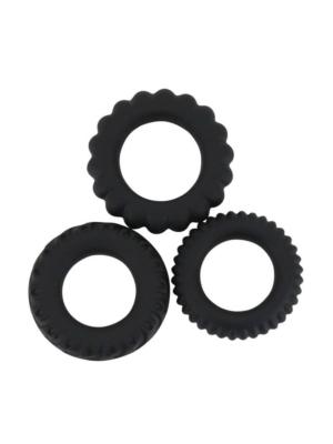 Titan 3 in 1 silicone rings Black