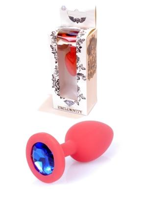 Plug-Jewellery Red Silicon PLUG Small- Blue Diamond