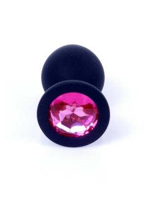Jewellery Butt Plug Silicone Black Medium - Pink Diamond