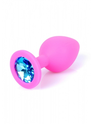 Jewellery Butt Plug Silicone Pink Medium - Blue Diamond