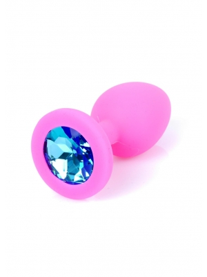 Jewellery Butt Plug Silicone Pink Small - Light Blue Diamond