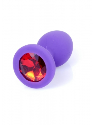 Jewellery Butt Plug Silicone Purple Small - Red Diamond