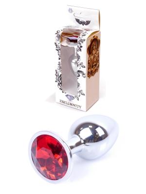 Jewellery Silver Butt Plug - Red