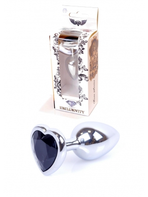 Jewellery Silver Butt Plug Heart - Black