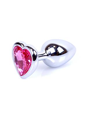 Jewellery Silver Butt Plug Heart - Pink