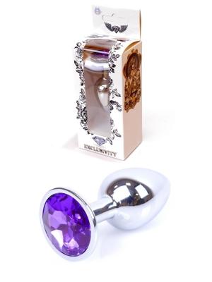 Jewellery Silver Butt Plug - Purple