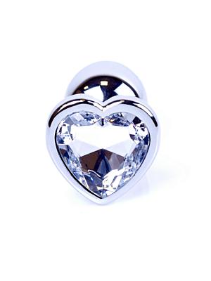 Jewellery Silver Butt Plug Heart - Clear