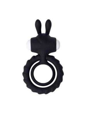 JOS GOOD BUNNY, Penis vibrating ring, silicone, black, 9cm