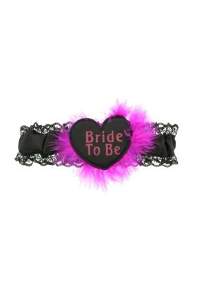 Black & Fuchia Heart Bride to Be Garters with Faux Fur