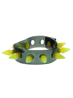 Alter Ego UV Black Bracelet / Wristband With Yellow Spikes